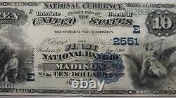 $10 1882 Madison New Jersey NJ National Currency Bank Note Bill #2551 Value Back
