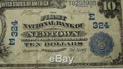 $10 1902 Newtown Pennsylvania PA National Currency Bank Note Bill Ch. #324 FINE