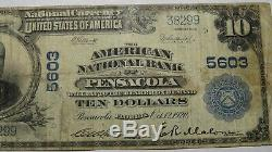 $10 1902 Pensacola Florida FL National Currency Bank Note Bill! Ch. #5603 RARE