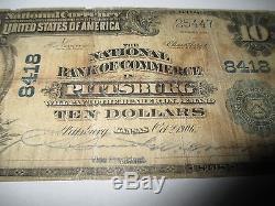 $10 1902 Pittsburg Kansas KS National Currency Bank Note Bill! Ch. #8418 RARE
