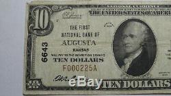 $10 1929 Augusta Kansas KS National Currency Bank Note Bill! Ch. #6643 VF