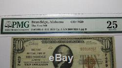 $10 1929 Brundidge Alabama AL National Currency Bank Note Bill #7429 PMG VF25
