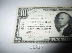$10 1929 Cartersville Georgia GA National Currency Bank Note Bill #4012 VF++