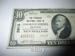 $10 1929 Colorado Springs Colorado CO National Currency Bank Note Bill 3913 Fine