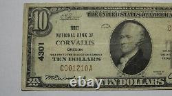 $10 1929 Corvallis Oregon OR National Currency Bank Note Bill Ch. #4301 FINE