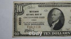$10 1929 Cottonwood Falls Kansas KS National Currency Bank Note Bill Ch 6590 VF