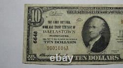 $10 1929 Dallastown Pennsylvania PA National Currency Bank Note Bill #6648 VF