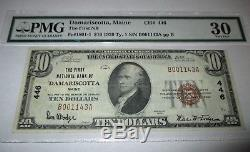 $10 1929 Damariscotta Maine ME National Currency Bank Note Bill #446 PMG VF30