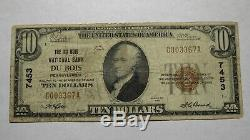 $10 1929 Dubois Pennsylvania PA National Currency Bank Note Bill Ch. #7453 RARE