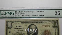 $10 1929 Elizabeth New Jersey NJ National Currency Bank Note Bill! Ch. #11744 VF