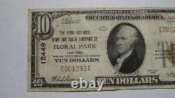 $10 1929 Floral Park New York NY National Currency Bank Note Bill Ch #12449 FINE