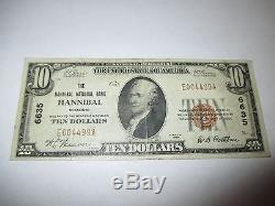 $10 1929 Hannibal Missouri MO National Currency Bank Note Bill! Ch. #6635 VF