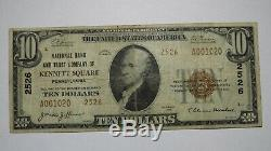 $10 1929 Kennett Square Pennsylvania PA National Currency Bank Note Bill #2526