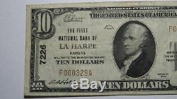 $10 1929 La Harpe Kansas KS National Currency Bank Note Bill! Ch. #7226 VF