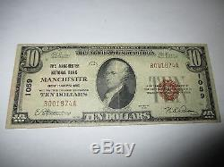 $10 1929 Manchester New Hampshire NH National Currency Bank Note Bill #1059 Fine