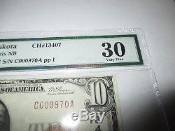 $10 1929 Milbank South Dakota SD National Currency Bank Note Bill #13407 VF30
