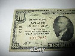 $10 1929 Mount Joy Pennsylvania PA National Currency Bank Note Bill #1516 Fine