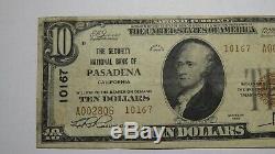 $10 1929 Pasadena California CA National Currency Bank Note Bill Ch #10167 VF
