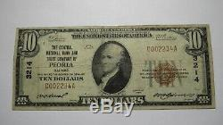 $10 1929 Peoria Illinois IL National Currency Bank Note Bill! Ch. #3214 FINE+
