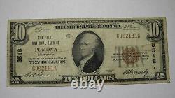 $10 1929 Pomona California CA National Currency Bank Note Bill! Ch. #3518 FINE