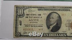 $10 1929 Racine Wisconsin WI National Currency Bank Note Bill Ch. #457 FINE PCGS