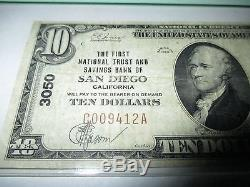 $10 1929 San Diego California CA National Currency Bank Note Bill! Ch. #3050 VF