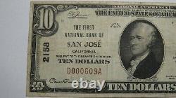 $10 1929 San Jose California CA National Currency Bank Note Bill Ch. #2158 FINE+