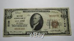 $10 1929 San Jose California CA National Currency Bank Note Bill Ch. #2158 VF+
