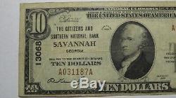 $10 1929 Savannah Georgia GA National Currency Bank Note Bill Ch. #13068 FINE