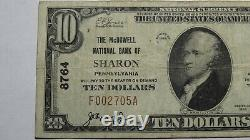 $10 1929 Sharon Pennsylvania PA National Currency Bank Note Bill Ch. #8764 VF