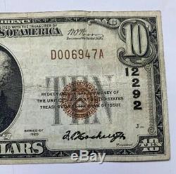 $10 1929 Tacoma Washington WA National Currency Bank Note Bill 12292 Puget Sound