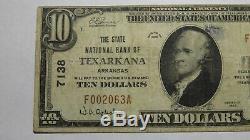 $10 1929 Texarkana Arkansas AR National Currency Bank Note Bill Ch. #7138 FINE