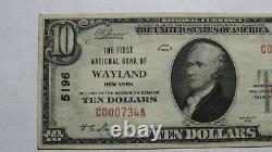 $10 1929 Wayland New York NY National Currency Bank Note Bill Ch. #5196 XF