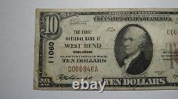 $10 1929 West Bend Wisconsin WI National Currency Bank Note Bill Ch. #11060 RARE