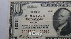 $10 1929 Winslow Arizona AZ National Currency Bank Note Bill! Ch. #12581 VF35