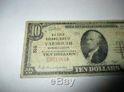 $10 1929 Yarmouth Massachusetts MA National Currency Bank Note Bill #516 Fine