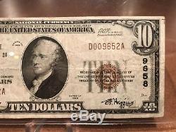 $10 Dollar Bill 1929 National Currency Oklahoma Tulsa Exchange National Bank