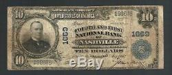 $10 Dollars Large NASHVILLE TN USA National Currency OLD Whitney Bank Note Bill