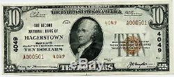 $10 National Currency Second National Bank Hagerstown Maryland UNC