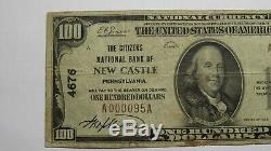 $100 1929 New Castle Pennsylvania PA National Currency Bank Note Bill! Ch. #4676