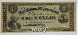 1868 Monaskon Virginia FIRST NATIONAL OYSTER BANK $1 Obsolete Currency RARE