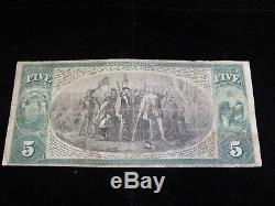 1875 National Currency Manufacturers National Bank Of Neenah Wisconsin $5 Note