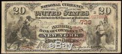 1882 $20 Dollar Bill United States National Bank Note Large Currency Paper Money