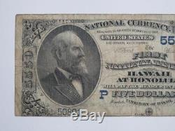 1900 $5 Large Size National Currency First National Bank Honolulu Hawaii 5550