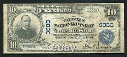 1902 $10 Citizens National Bank Of Washington, Pa National Currency Ch. #3383