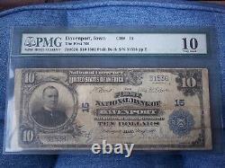 1902 $10 Davenport Iowa IA National Currency PLAIN Back # 15 1st National Bank #