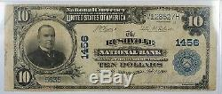 1902 $10 National Currency Bank Note- 1456- Rushville, Indiana