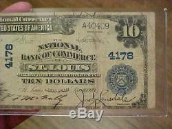 1902 $10 Ten Dollar Bill Note National Currency Bank Of Commerce St. Louis 4178