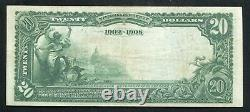 1902 $20 Db National City Bank Of Memphis, Tn National Currency Ch. #9184 Xf/au