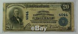 1902 $20 National Currency Note Exchange National Bank of Spokane WA CH# 4044 VG